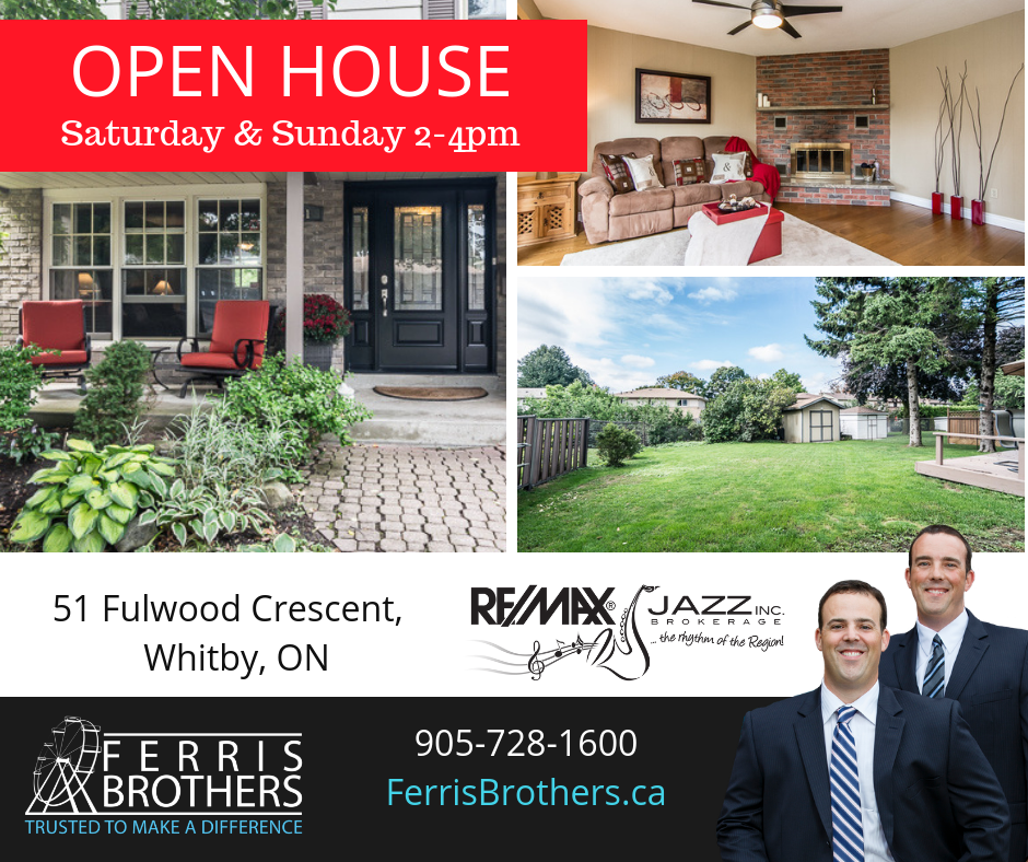 OPEN HOUSE - 51 Fulwood Cres., Whitby September 15 & 16